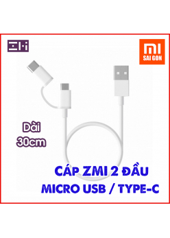 [30cm] Cáp ZMI 2-in-1 Micro USB – Type-C ( Đen/ Trắng ) AL511