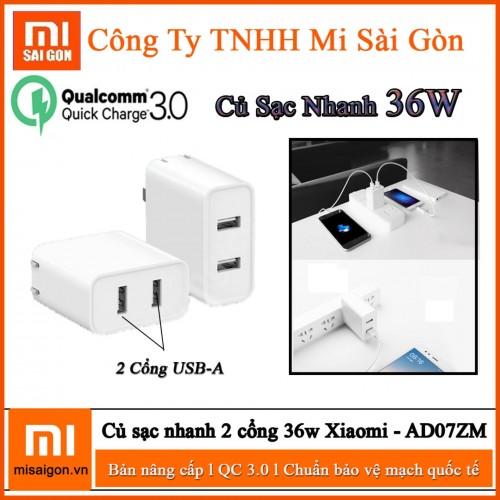 Adapter Sạc Nhanh 36W 2 Cổng USB Xiaomi AD07ZM