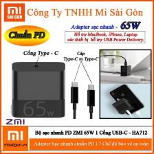 Bộ sạc nhanh PD ZMI 65W 1 Cổng USB-C HA712 ( Gồm Adapter + Cáp USB-C )