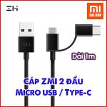 Cáp 1m ZMI 2-in-1 Micro USB – Type-C ( Đen/ Trắng ) AL501