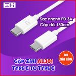 Cáp 3A ZMI AL301 Type C To Type C - Dài 1.5m ( Đen/ Trắng )