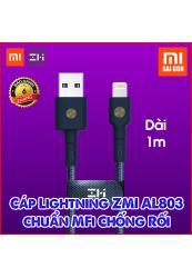 Cáp Lightning ZMI AL803 chuẩn MFi Chống Rối (1m) Xanh Blue