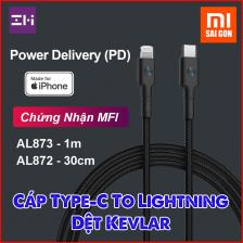 [1m] Cáp Type C to Lightning Zmi AL873 bọc sợi Kevlar (Đen)