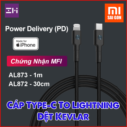 Cáp Type C to Lightning 30cm Zmi AL872 bọc sợi Kevlar (Đen)