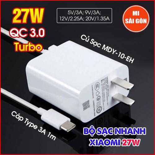 Bộ Sạc Nhanh Tubor Xiaomi 27W MDY-10-EH (Củ sạc nhanh QC3.0 kèm Cáp Type C 3A)