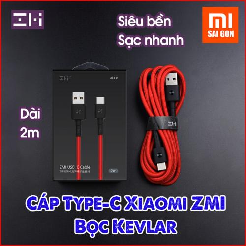 Cáp Type C ZMI AL431 ( Dài 2m - bọc sợi Kevlar ) - Đen / Đỏ