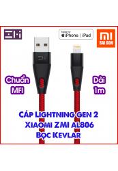 Cáp Gen 2 ZMI USB Lightning AL806 Dài 1m - Đen / Đỏ (Hỗ trợ iPhone, iPad..)