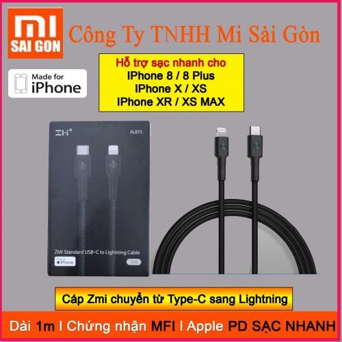 Cáp Type C sang Lightning Xiaomi Zmi bọc sợi Kevlar AL873 ( Đen ) - 1m