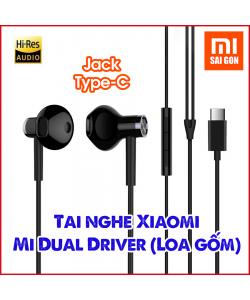 Tai nghe Mi Dual Driver (Loa gốm) Jack Type C - Đen